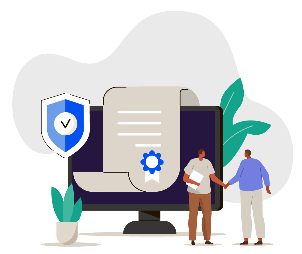 Platform as a service illustration featuring laptop and people shaking hands